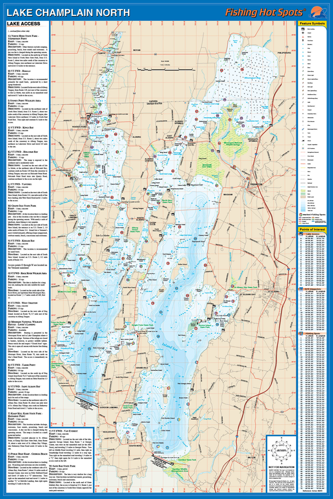 North Fishing Map Lake Quebec Waters To South Hero - Lake champlain on us map