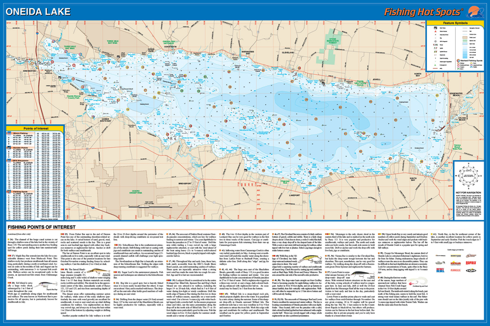 Oneida Lake Map Oneida Lake Fishing Map