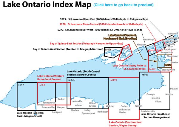 Ontario Fishing Map, Lake (Oswego Area)