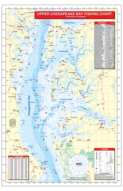 Upper chesapeake bay cove point to annapolis fishing map for Fishing spots in maryland