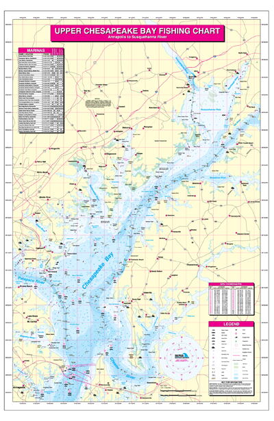 Upper chesapeake bay annapolis to susquehannah river for Chesapeake bay fishing map